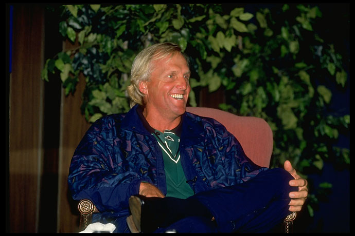The Shark holds court: Greg Norman talks to reporters at the 1995 Mercedes Championship.