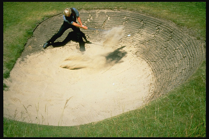 Aerial view of Greg Norman's bunker on the 7th hole at the 1996 British Open at Royal Lytham & St. Annes.