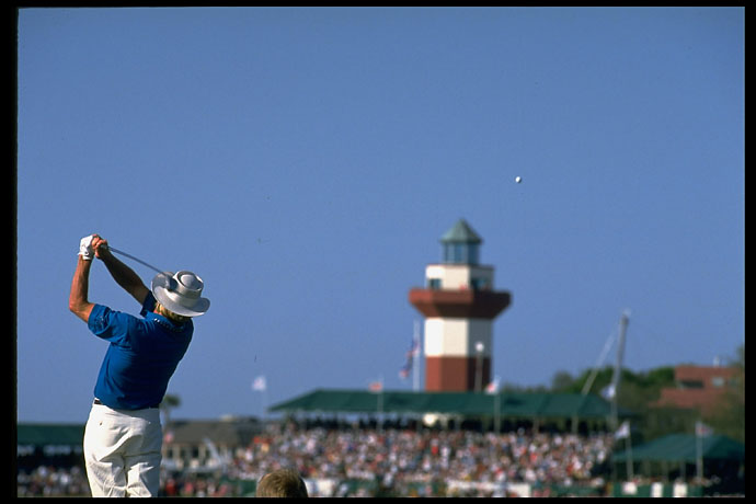 Greg Norman hits from the fairway at Harbour Town Golf Links in 1994.
