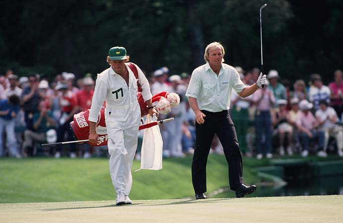 Greg Norman with caddie Steve Williams at the 1988 Masters. Williams would later caddie for Tiger Woods and Adam Scott.