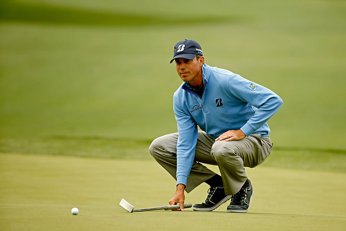 Matt Kuchar lines up a birdie put on the green of the 8th hole during the third round of the Shell Houston Open on Saturday.