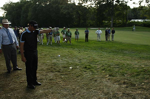 Garcia's second shot on the second playoff hole landed behind a tree, near a gopher hole. The gopher was apparently home, as Garcia noticed the ground moving up and down. He was allowed to drop the ball on more steady ground.