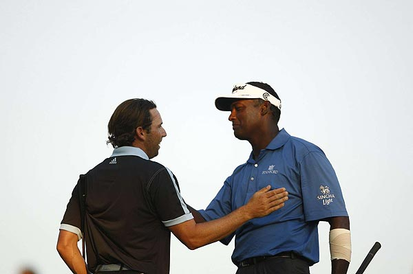 Singh won the tournament with a birdie on the second playoff hole.