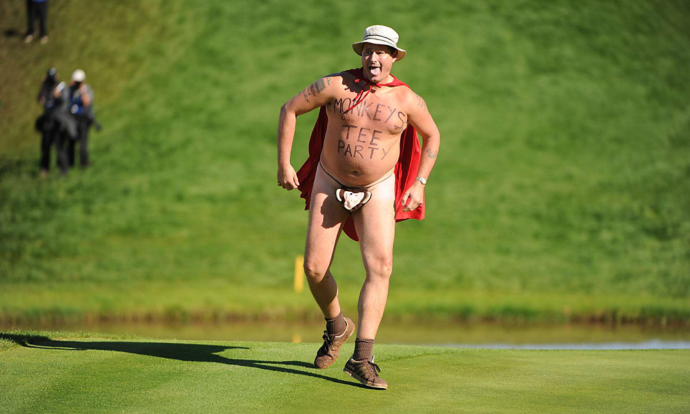 A streaker invaded the 18th green during the singles match between Luke Donald and Jim Furyk at the 2010 Ryder Cup at Celtic Manor.