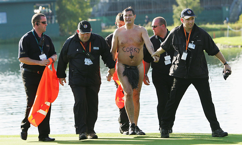 The streaker was later led off the green by several officers. And Europe won the Ryder Cup.