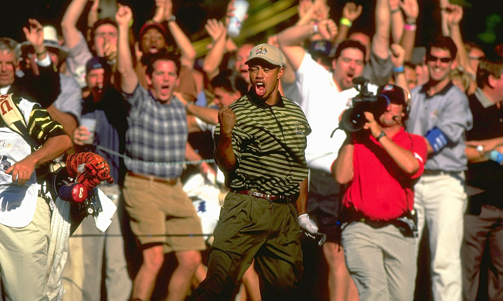 "1999 Ryder Cup at The Country Club                           At the ""Battle of Brookline,"" Woods had a mediocre record of 2-3-0, but he won his singles match on a Sunday that saw the U.S. stage an improbable comeback to win the Cup. To date, it's the only time Woods has been part of a winning Ryder Cup team."