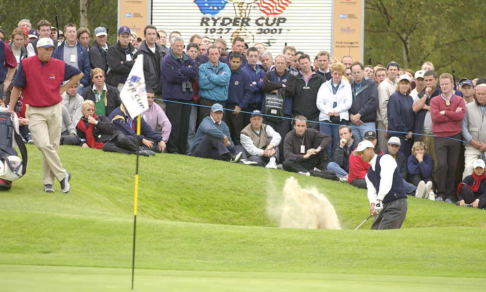2002 Ryder Cup at The Belfry                           Despite Europe's decisive victory at The Belfry, Woods improved on his previous two Ryder Cup appearances with a record of 2-2-1, the halve coming in his singles match against Jesper Parnevik. He has not lost or halved a Ryder Cup singles match since.