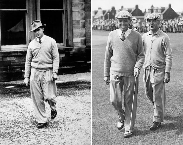 Pullover sweaters or cardigans, generously cut pleated gabardine trousers, dressy shoes, and proper hats -- this was the look of mid-century professional golf. That's Sam Snead (left) outside the clubhouse at St. Andrews during the 1946 British Open, which he won. At right, Ben Hogan pats W. J. Branch on the back as they leave the 18th green at the 1953 Open.
