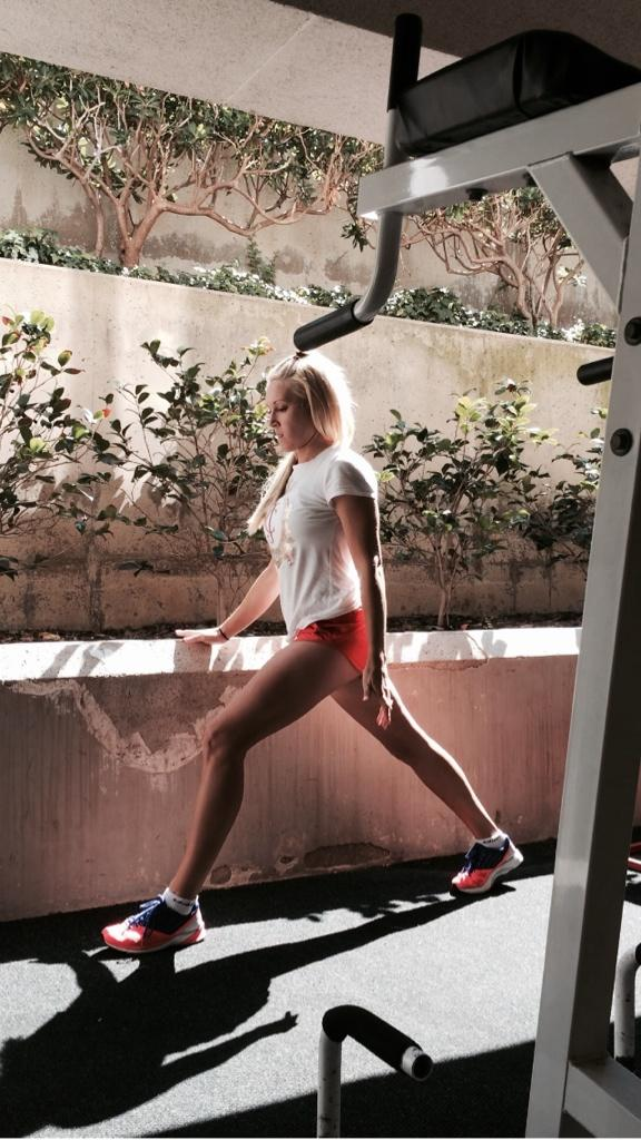 @natalie_gulbis                            Pre workout stretch.... @adidasUS bright colors.. @StellaMcCartney short so comfy