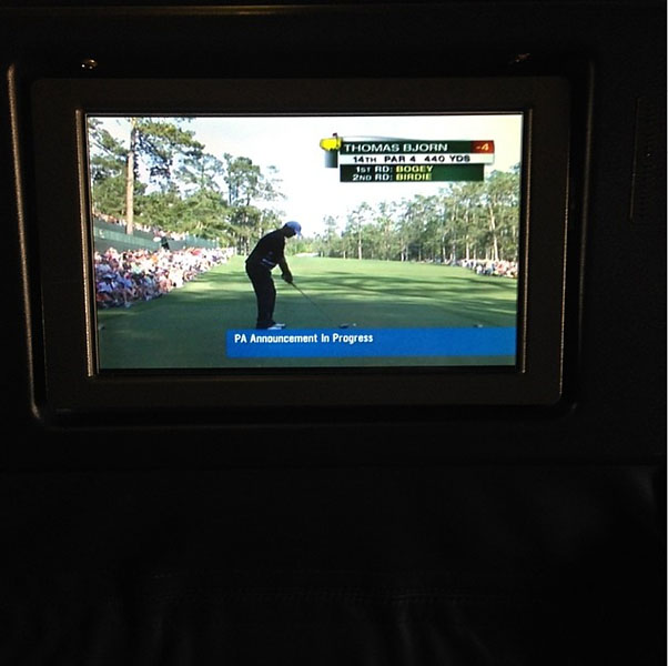 @ThePCreamer                       Yes!!!!! Tv on the plane!!!! #MASTERS #HAPPYGIRL