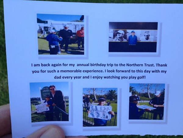 From David Hearn's Twitter:                             Just received a thank you card for signing an autograph @ntrustopen. That's a first! #impressed