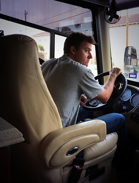 "From Jimmy Walker's wife Erin's Twitter:                             ""driving the bus to @NTrustOpen! Yep. We are glamorous! #HonkHonk"""
