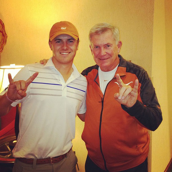 @JordanSpieth: Saw coach tonight! Couldnt be more excited and ready for tomorrow. Feeling a W! #TexasvsOU @@UT_MackBrown