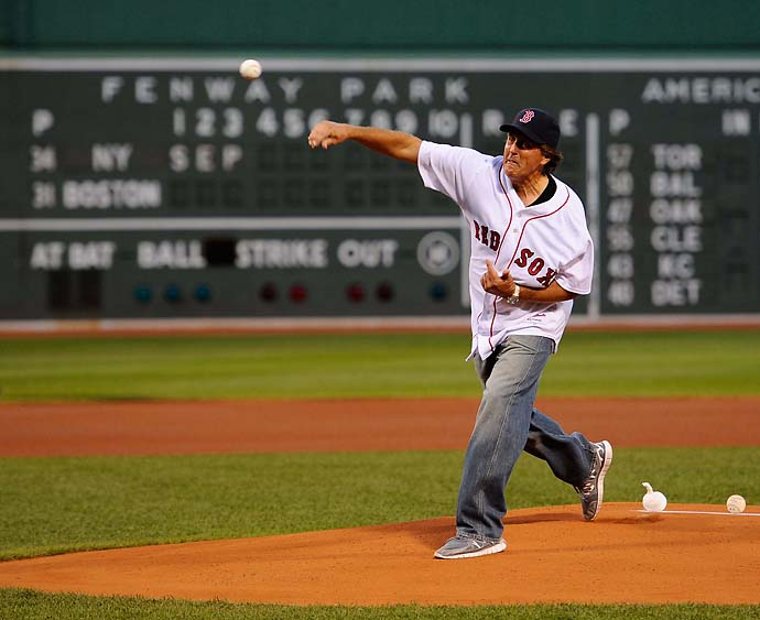Phil Mickelson: BaseballMickelson threw out the first pitch at Fenway Park during the 2011 Deutsche Bank Championship.