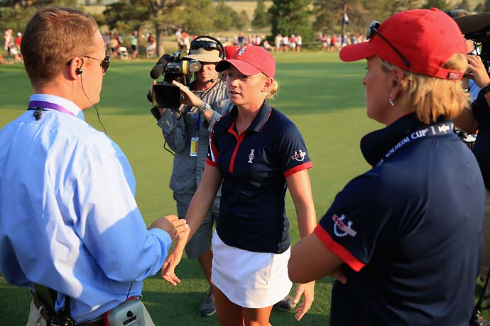 """That's not golf.""                       --Stacy Lewis after 25-minute ruling delay during her Solheim Cup match."