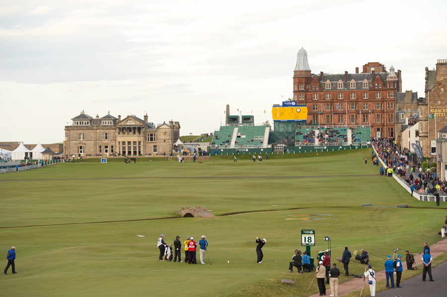 St. Andrews (Old Course) -- St. Andrews, Scotland -- No. 18: Par 4, 361 yards                           Clearly, No. 17 is the must-play hole at the Old Course, but for sheer grandeur, my vote goes to the incredible panorama at the 18th tee, with the Swilcan Bridge in the foreground, the Royal & Ancient clubhouse and Hamilton Grand in the background, and the vibrant Auld Grey Toon flush to the right.