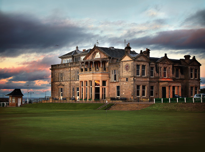 Royal and Ancient Golf Club of St. Andrews -- St. Andrews, Fife, Scotland                           St. Andrews boasts the most recognized clubhouse in the world. It embodies many of the characteristics specific to golf clubhouses, appearing stately in its setting, affording exceptional views of the course, and warmly housing the camaraderie of the members. Small touches, such as the golf-side balcony, a prominent clock to mark the tee time, and a decidedly masculine interior add to its authenticity.