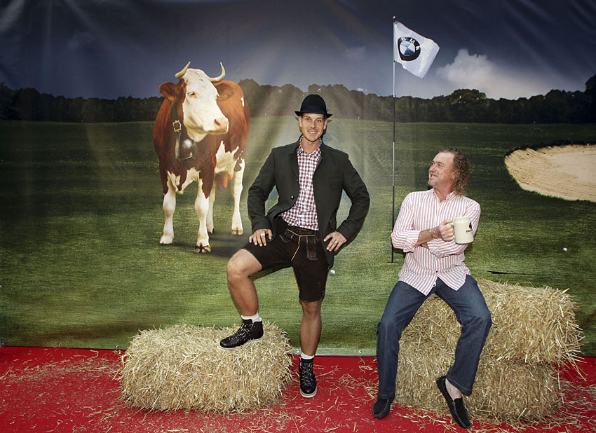 Henrik Stenson also wore lederhosen at the event, but Miguel Angel Jimenez opted not to.