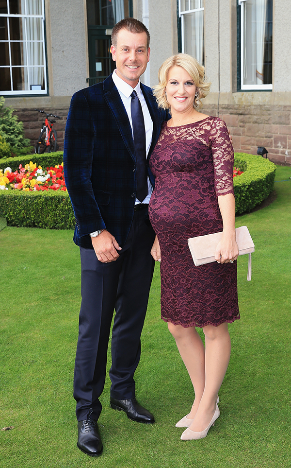 Henrik Stenson of Europe and heavily pregnant wife Emma Stenson pose before leaving for the 2014 Ryder Cup Gala Dinner at Gleneagles Hotel on Sept. 24, 2014 in Glasgow, Scotland.
