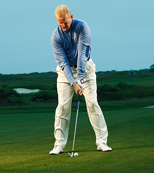 Our exclusive test proves you can eliminate 70 percent of your errors—and hit the ball just as far and straight—by completely eliminating your backswing.                                              How the No-Backswing Swing Works                       Place yourself in the correct position at the top, then pump the club up and swing down. It's the same principle as hitting a baseball.                                              STEP 1: Set Up                       Address the ball as you normally would for the club in your hand.