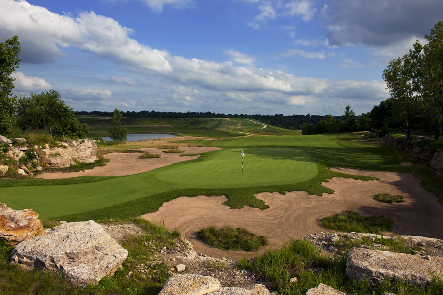 6. Stone Canyon, Independence, Mo.                           Greg Norman sprinkled this three-year-old layout with his typical design touches, including attractive, tattered-edge bunkers and shaved green surrounds, but the real star is the setting, where rock walls and stone outcroppings are integrated into the layout. Most memorable is the 381-yard, par-4 3rd, which concludes with a green in an amphitheater of rocks.