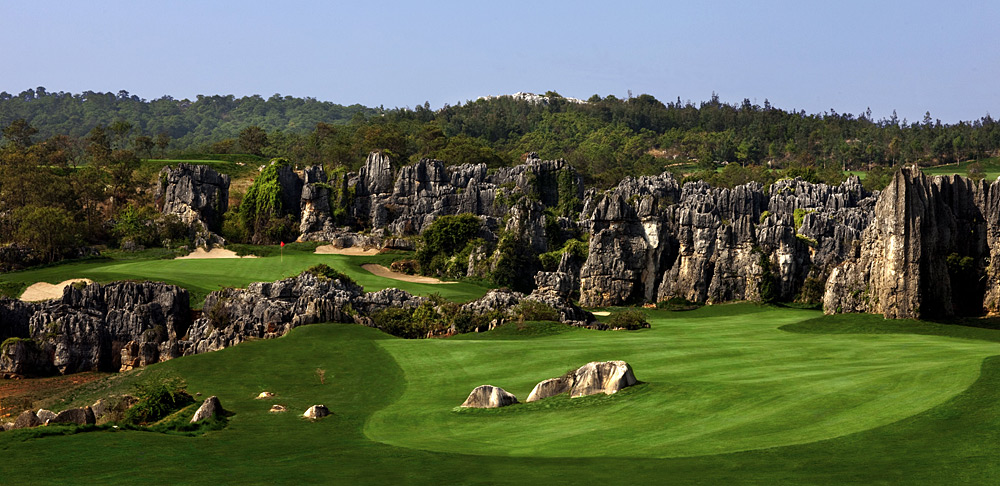 Stoneforest International Golf Club (C course-Leaders' Peak) -- Kunming, Yunnan Province, China -- No. 11: Par 4, 331 yards                       A half-dozen other holes here can compete with the 11th for wow! honors, including the par-3 12th on this Brian Curley-designed fantasy calendar layout in the mountains of southwestern China. With one hole after the next cocooned by rock spires, the effect is surreal.