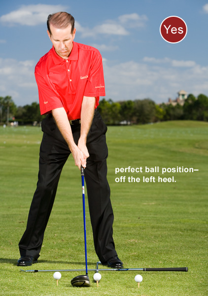 To position the ball properly in your stance and hit straight drives... Make certain the first shaft points directly at the teed ball and the second shaft is parallel left of your target line. The ball will be off your left heel. This position automatically squares your shoulders to the target line, positions your head behind the ball and tilts your upper body the correct amount to the right. You'll know you're correct if a line extending from the shaft of your driver bisects your left ear.