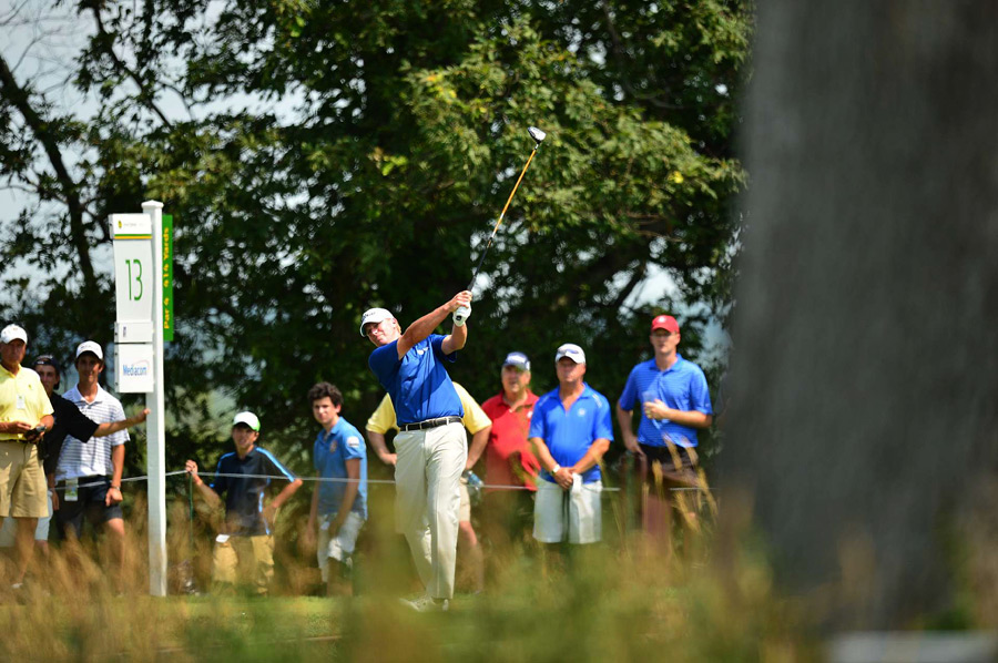 Steve Stricker birdied four of the last five holes on Saturday to finish three shots off the lead.