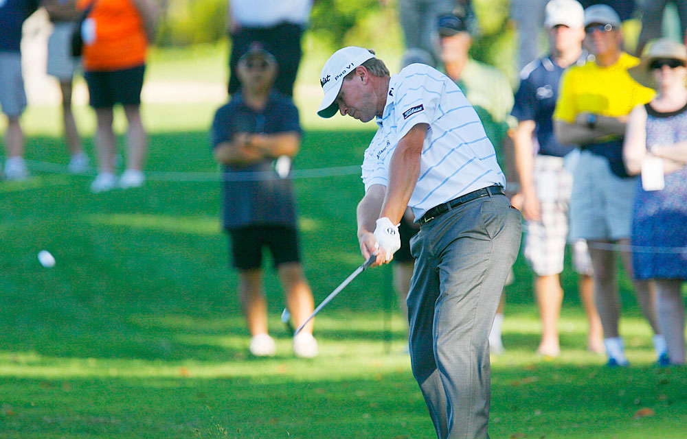 Steve Stricker's round was derailed by a double bogey on No. 1, but he's only five shots off the lead.
