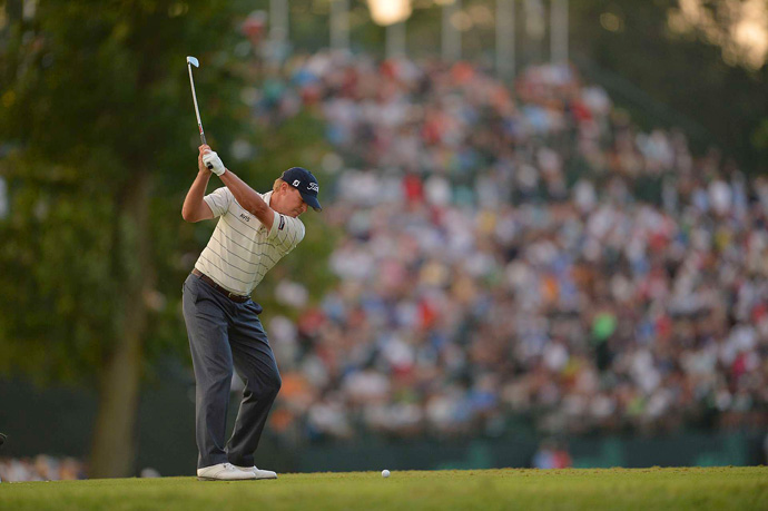 Steve Stricker is one shot off the lead after a one-under 69.