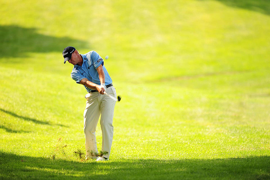 Defending champion Steve Stricker bogeyed the last three holes to finish at one over.