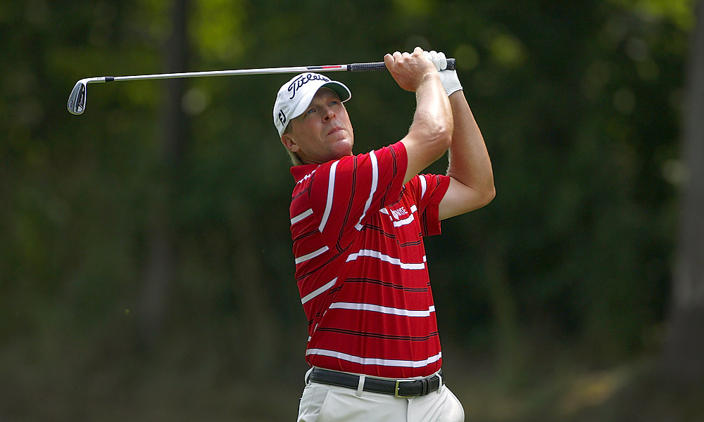 Steve Stricker went six under on the back nine to finish with a 65, good enough for a tie for third.