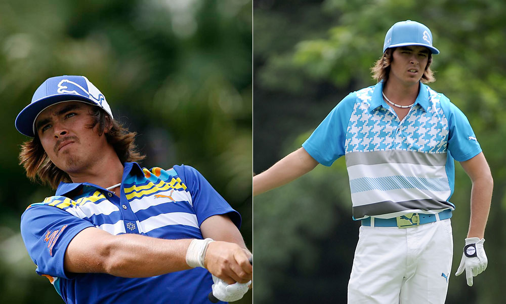 Over time, Fowler and his apparel sponsor, Puma, began mixing in strong graphic patterns, like this vintage '70s-looking blue shirt (left), or an exploded hound's tooth.