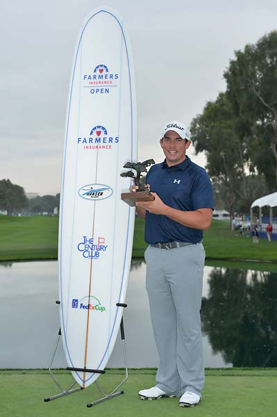 As winner of the Farmers Insurance Open, Scott Stallings gets a trophy, a surfboard and a giant check.