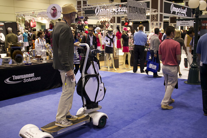 We had our first GolfBoard sighting at the PGA Merchandise Show on Wednesday. The verdict: Way cooler than a Segway. Available for purchase for $3,595 at GolfBoard.com.
