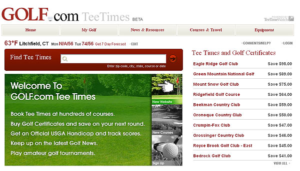 Book Tee Times and Save, (Varies)                           golf.com/teetimes                           With GOLF.com tee times, you can pay for dad's next round — and get a bargain while you're at it! With hundreds of courses to choose from, it's easy to save on rounds close to home or on the road.