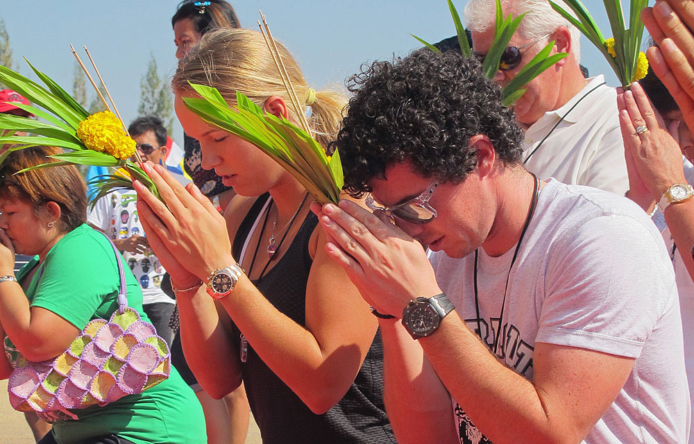 Dec. 30, 2011: While Wozniacki was in Thailand for a charity event, the couple prayed at a Buddhist temple in Hua Hin.