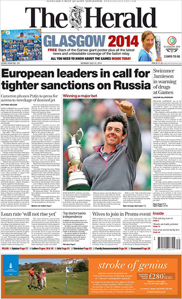 "The Herald (Scotland) - McIlroy's achievements were front and center in Scotland, too. ""Winning a Major Bet,"" Monday, July 21, 2014."