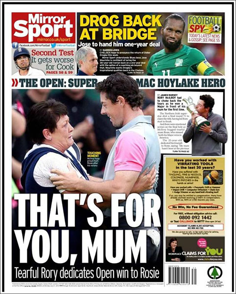 "The Daily Mirror Sport - ""That's For You, Mum,"" Monday, July 21, 2014."