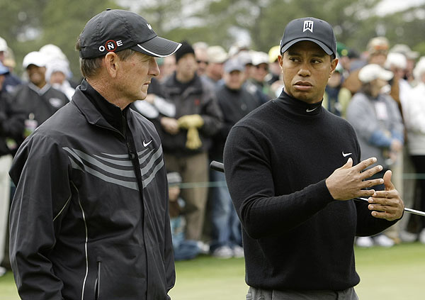 Tiger Woods consulted with swing coach Hank Haney on Tuesday.