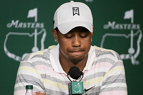"March 24 - Augusta National says Woods will hold a news conference on April 5, the Monday of Masters week.                             April 5 - In his first news conference, Woods says he has done things that are ""just horrible."" He also reveals he tore an Achilles tendon before returning from knee surgery in 2009, and that he would try to tone down his temper."