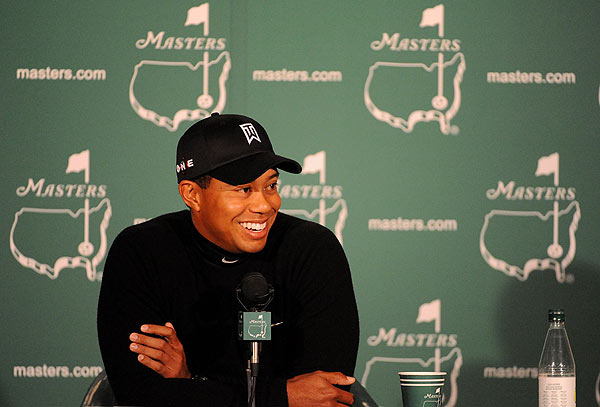 "Woods gave a press conference on Tuesday but didn't play a practice round due to the cold, windy weather at Augusta.                                                                                 function fbs_click() {u=""http://www.golf.com/golf/gallery/article/0,28242,1889652,00.html"";t=document.title;window.open('http://www.facebook.com/sharer.php?u='+encodeURIComponent(u)+'&t='+encodeURIComponent(t),'sharer','toolbar=0,status=0,width=626,height=436');return false;} html .fb_share_link { padding:2px 0 0 20px; height:16px; background:url(http://b.static.ak.fbcdn.net/images/share/facebook_share_icon.gif?8:26981) no-repeat top left; }Share on Facebook                                                                                                            addthis_pub             = 'golf';                            addthis_logo            = 'http://s9.addthis.com/custom/golf/golf_logo.jpg';                           var addthis_offset_top = -155;                           addthis_logo_color      = '555555';                           addthis_brand           = 'Golf.com';                           addthis_options         = 'email, facebook, twitter, digg, delicious, myspace, google, reddit, live, more'                                                                                  Share"