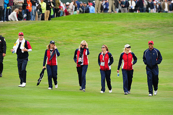 Woods walked the course with his wife, Elin, and other U.S. team supporters to see the remaining matches.