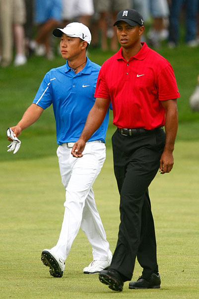 Tiger Woods and Anthony Kim have played in the same event 17 times, though this is the first time they have been paired together. Of the 17 times, Tiger has finished ahead of Kim 16 times (they tied at the 2009 Accenture Match Play).  Also, Tiger has won the event in seven of their 17 meetings.