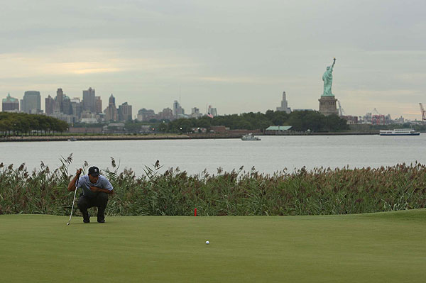 The first round of the FedEx Cup playoffs started Thursday at Liberty National Golf Course, which has stunning views of New York City and the Statue of Liberty.