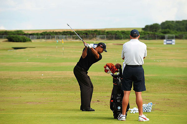 Wednesday at Turnberry                       Tiger Woods hit the range at Turnberry with his caddie Steve Williams.