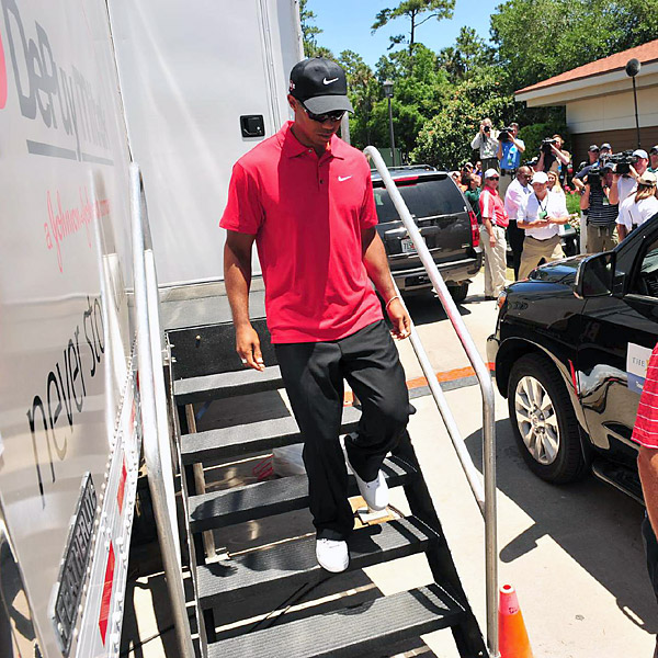 May 9 - Woods withdraws on the seventh hole from the final round of The Players Championship, saying he fears he might have a bulging disk in his neck.