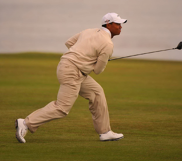 Woods finally flashed some of his old form at the U.S. Open at Pebble Beach, where his Saturday 66 was capped by this second shot on the 18th hole, which he sliced around a tree and onto the green. Woods entered the final round in third place but struggled to a closing 75 to tie for fourth.