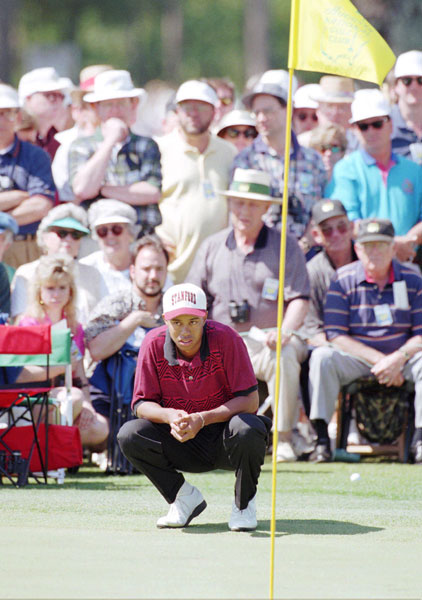 Woods made the cut in 1995, finishing five over and tying for 41st.