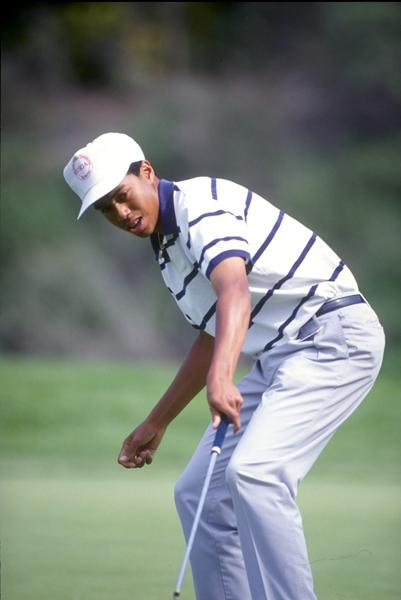 Recognize this move? Tiger had already mastered his watching-his-putt-go-in pose as a 16-year-old at the 1992 Los Angeles Open at Riviera Country Club.